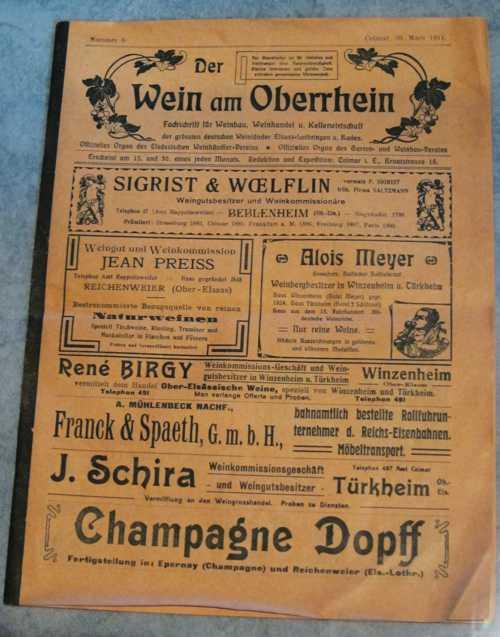 """La une du journal viticole """"Wein am Oberrhein"""", publié à Colmar en 1911."""