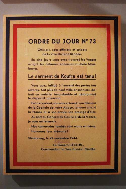 L'order du jour du général leclerc, qui à la tête de la 2ème DB a libéré Strasbourg le 25 novembre 1944.