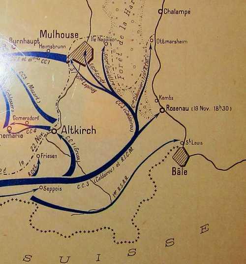 Cette offensive française permet la libération de Rixheim dès le 20 novembre, jour où les troupes françaises commencent leur entrée à Mulhouse.