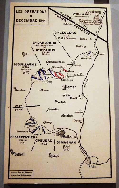 La formation de la poche de Colmar, cette zone de résistance allemande, encerclée par les troupes franco-américaines, avec Leclerc au nord et De Lattre au sud