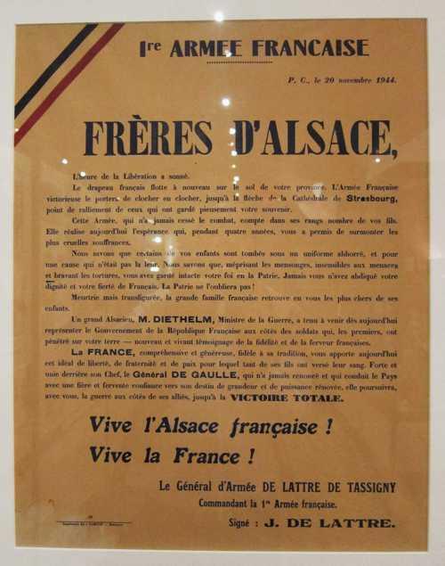 La proclamation du général De Lattre, annonçant la libération de l'Alsace, en date du 20 novembre 1944.