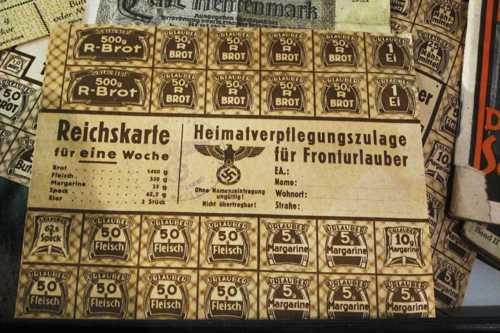 La carte de rationnement obtenu par les permissionnaires de la Wehrmacht.