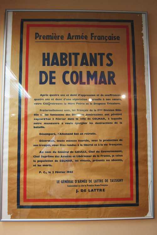 La proclamation du 9 février 1945 du général De Lattre, annonçant que les Allemands ont évacué les dernières positions en Alsace.