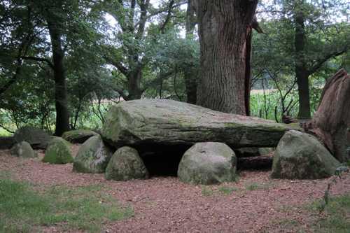 Cette chambre mortuaire mesurait 9m50 sur 2 m et seule la partie occidentale a gardé sa pierre supérieur, lui donnant cette allure de dolmen.
