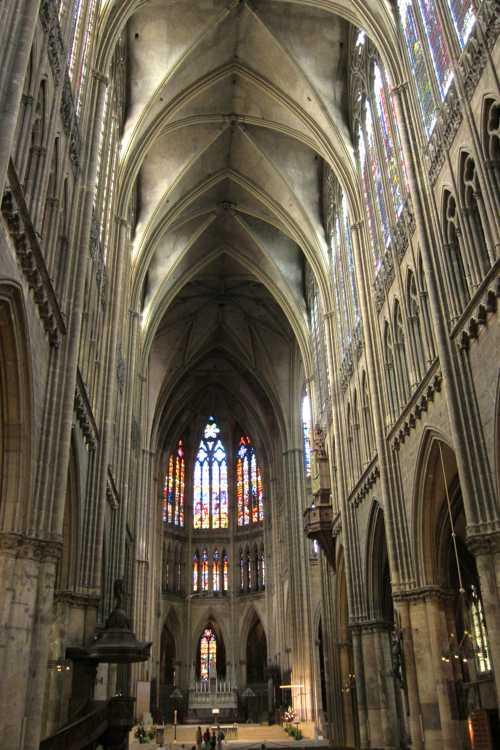 La nef de la cathédrale de Metz est l'une des plus hautes de France (42 m) avec celle de Beauvais et d'Amiens.