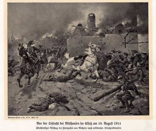 Une représentation fantaisiste de la bataille autour de Mulhouse, représentant la retraite précipitée des Français chassés de Rixheim, après de durs combats de rue.