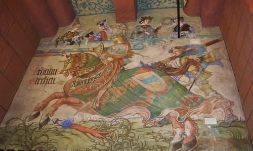 Léo Schnug a représenté les anciens seigneurs en chevalier s'affrontant dans une lice, comme ici le omte de Rathsamhausen.