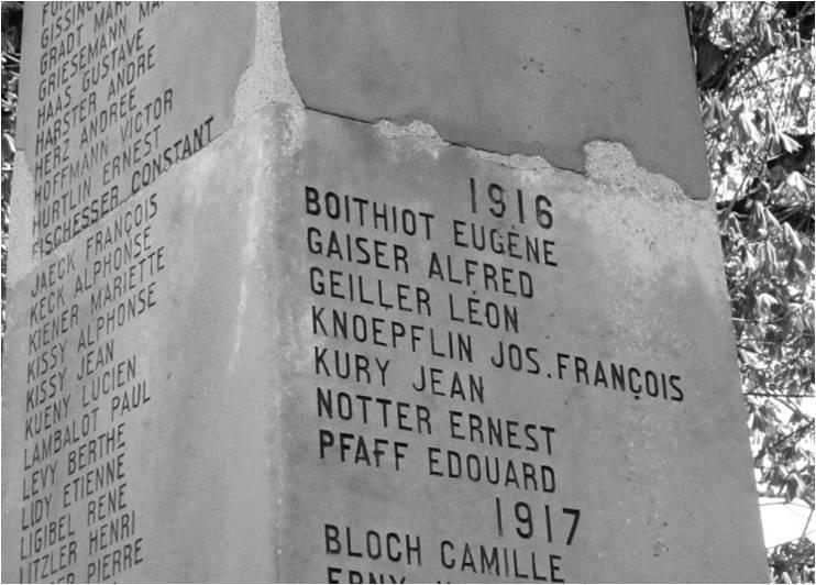 Les soldats morts en 1916 figurant sur le Monument aux Morts de Rixheim.