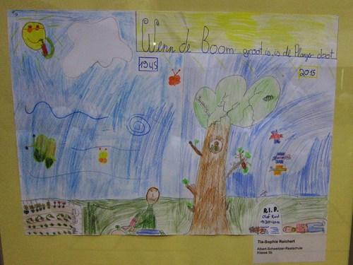 Des dessins d'écoliers lohnois présentèrent certaines expressions en Plattdeutsch à l'image de celui-ci qui illustre le dicton suivant :