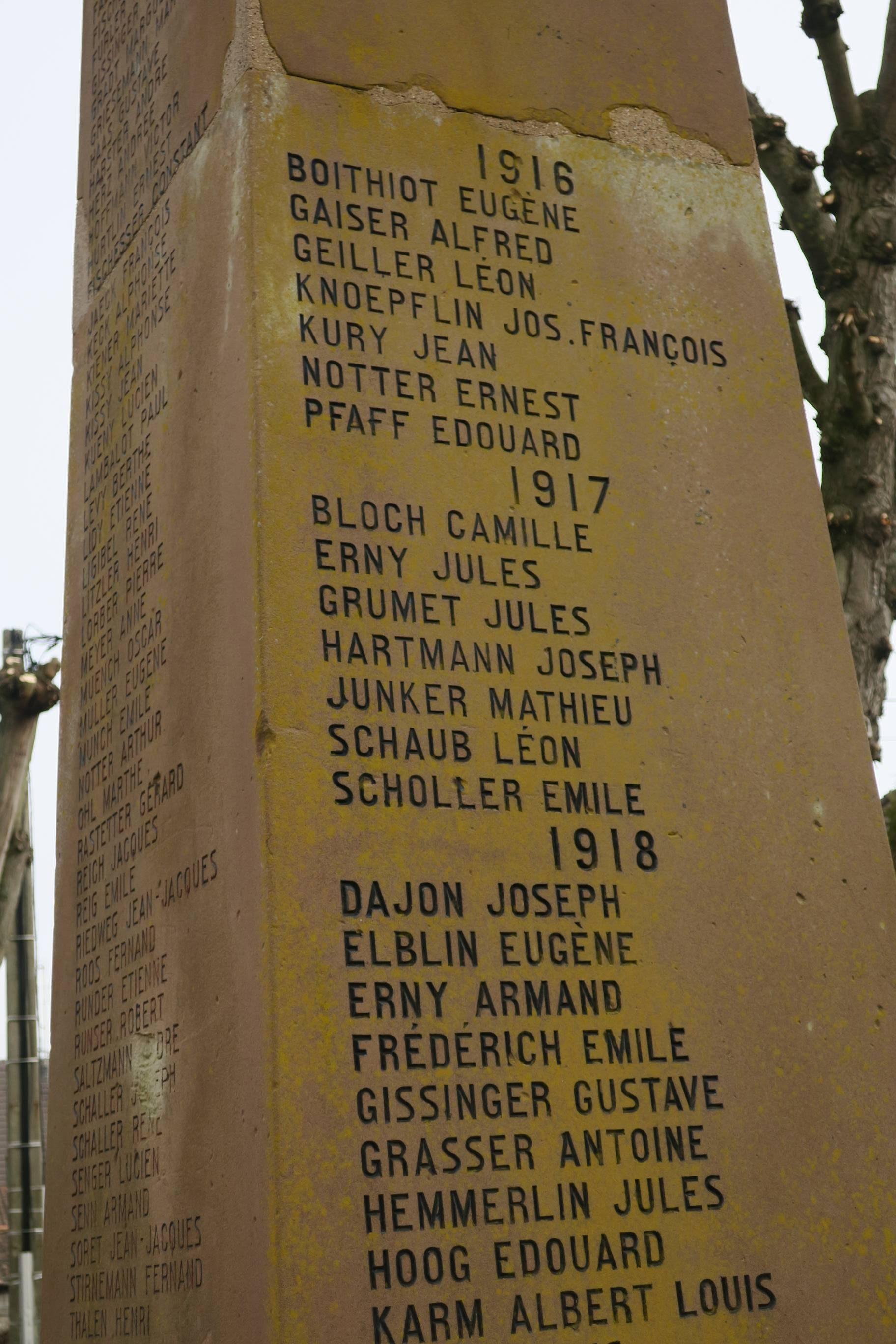 Les soldats de Rixheim morts en 1917.