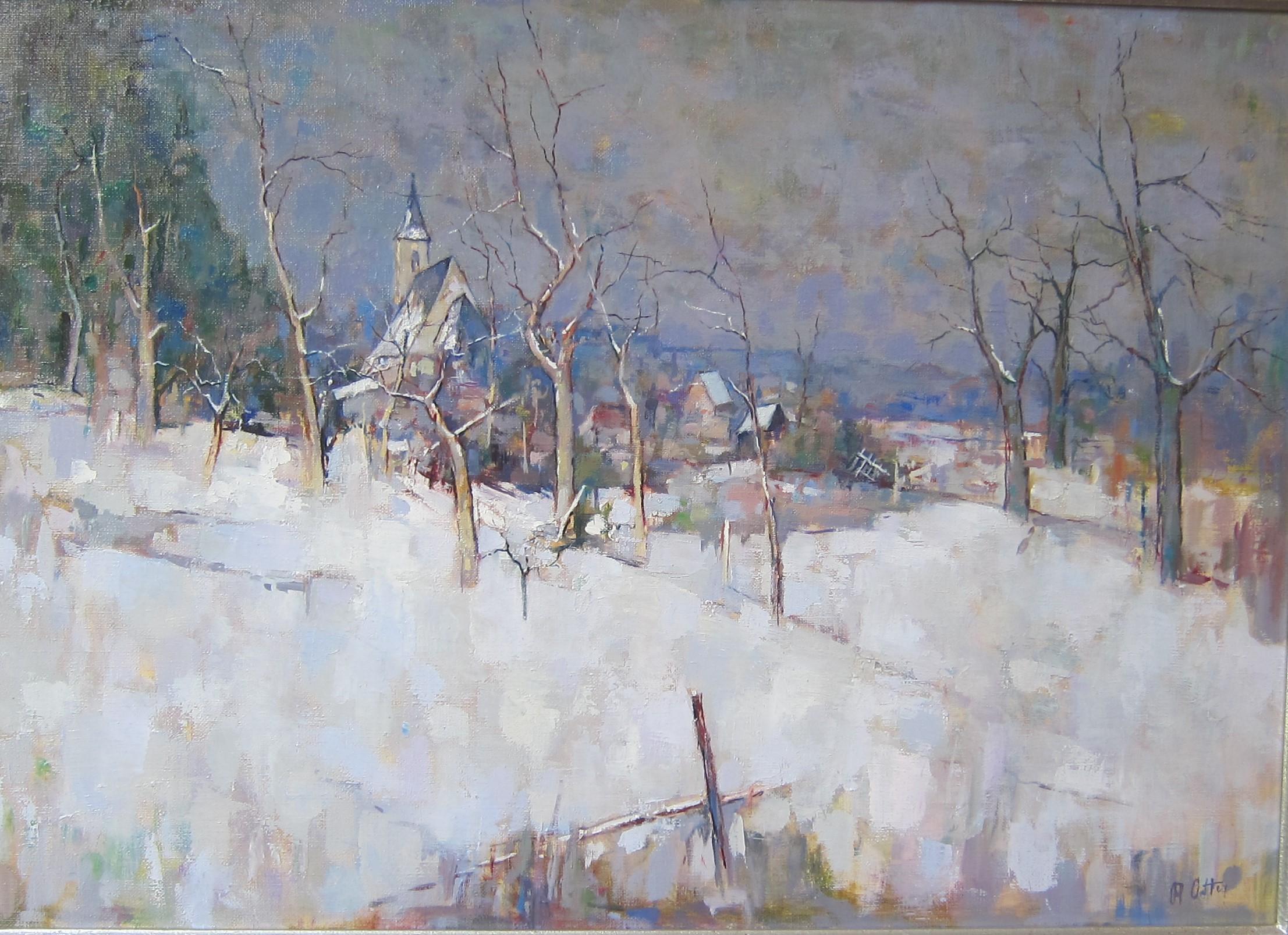 L'église de Rixheim, sous la neige (années 1990).