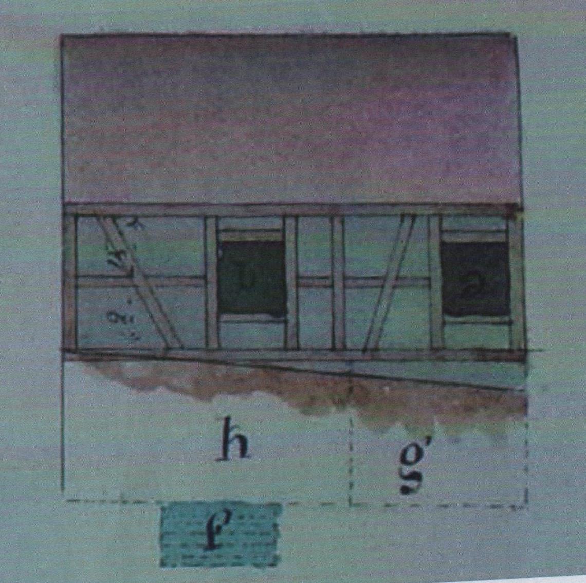 Le plan de la maison du chantre et le mikvé, installé dans le sous-sol (f).