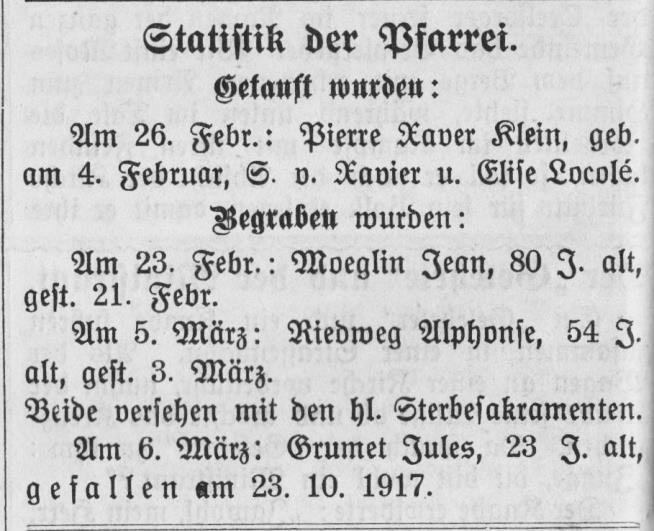 La mention des obsèques de Jules Grumet, le 6 mars 1922, publiée dans le Katholisches Kirchenblatt für die Pfarrei Rixheim (le bulletin paroissial de Rixheim).