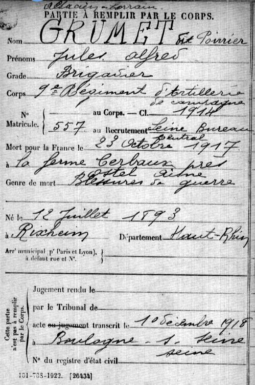 La fiche de rectutement de Jules Grumet qui s'engage sous le nom de Poirier.