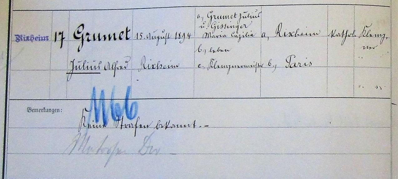 Les informations sur Jules Grumet dans le registre militaire de la classe 1894 : sa date de naissance, l'identité des parents, l'emploi du père (maître ferblantier), leur religion (catholique) et leur lieu de résidence (Rixheim). Pour le fils, il est précisé qu'il est aussi ferblantier, n'a jamais été condamné et qu'il habite Paris.