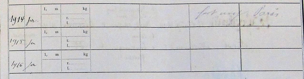 """Dans le Rekrutierungs-Stammrolle-Jahrgang 1914, le cahier de recrutement de la classe 1894, conservé dans les archives de la mairie de Rixheim, on peut lire pour Jules Grumet, """"fort nach Paris"""" (parti à Paris)."""